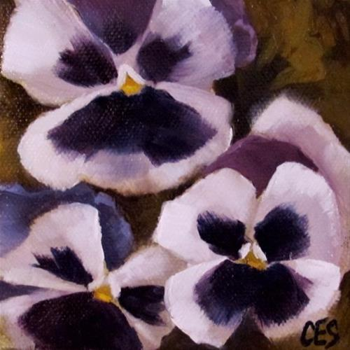 """White and Purple Pansies"" original fine art by ~ces~ Christine E. S. Code"