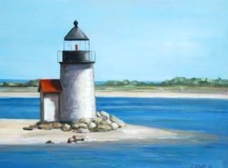 """nantucket lighthouse"" original fine art by Christina Dowdy"