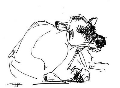 """Quickie 2__cow, sketch, pen"" original fine art by V.... Vaughan"