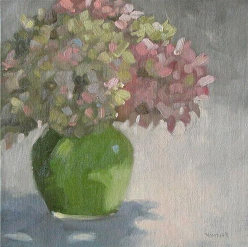 """Pink and Green Hydrangeas 8x8 oil"" original fine art by Claudia Hammer"