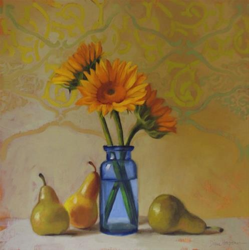 """""""Three and Three a sunflower floral still painting"""" original fine art by Diane Hoeptner"""