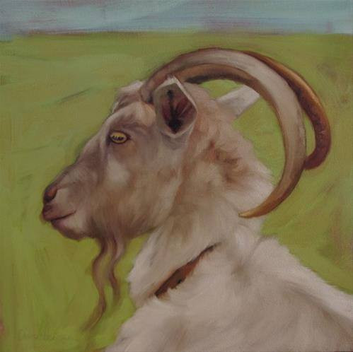"""""""Goat II another goat painting"""" original fine art by Diane Hoeptner"""