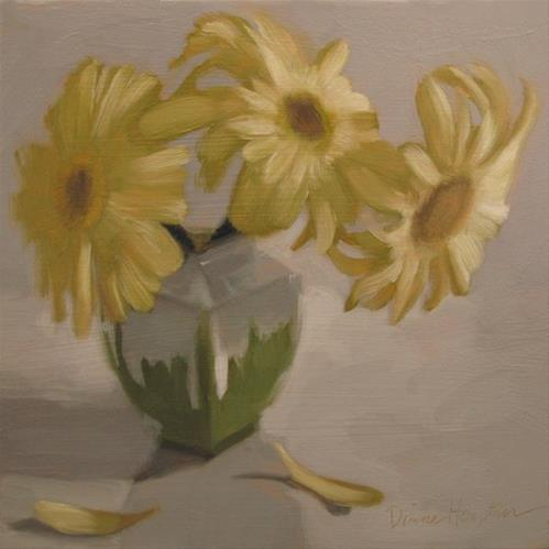 """""""Three Daisies an oil painting of flowers"""" original fine art by Diane Hoeptner"""