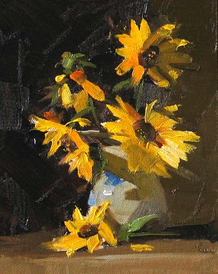 """""""Sunflowers --- Sold"""" original fine art by Qiang Huang"""