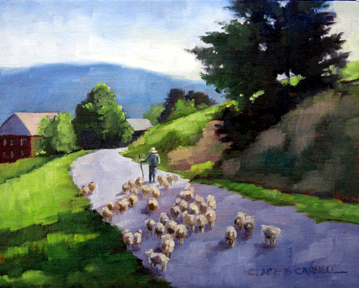 """""""Gathering Wool"""" original fine art by Claire Beadon Carnell"""