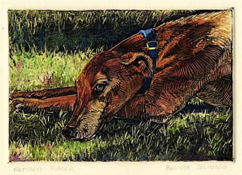 """Monotype: Retired Racer"" original fine art by Belinda Del Pesco"