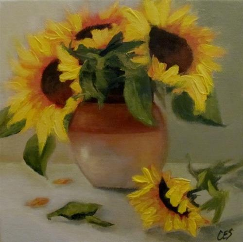"""Sunflowers and Stoneware"" original fine art by ~ces~ Christine E. S. Code"