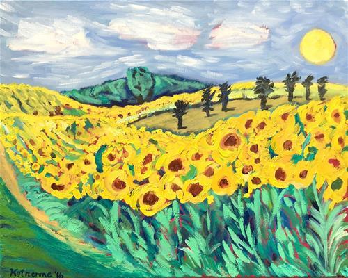 """Sunflower Fields Forever"" original fine art by Katherine Hambley"