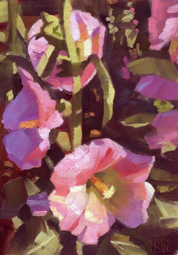 """It's hollyhock time"" original fine art by Kathy Weber"