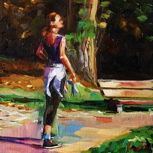 """while jogging"" original fine art by Jurij Frey"