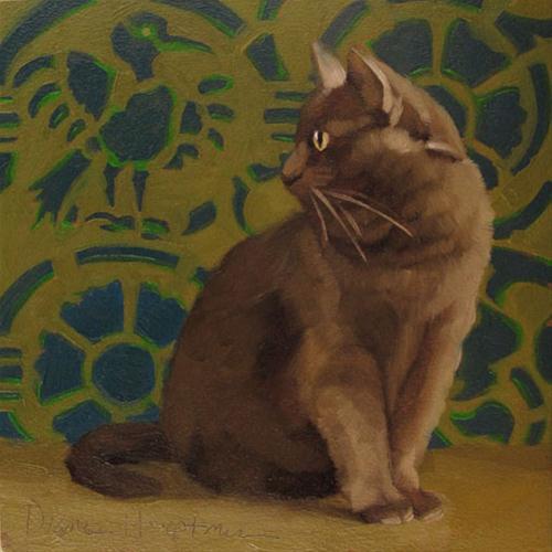 """Bird Cat original oil painting of cat"" original fine art by Diane Hoeptner"