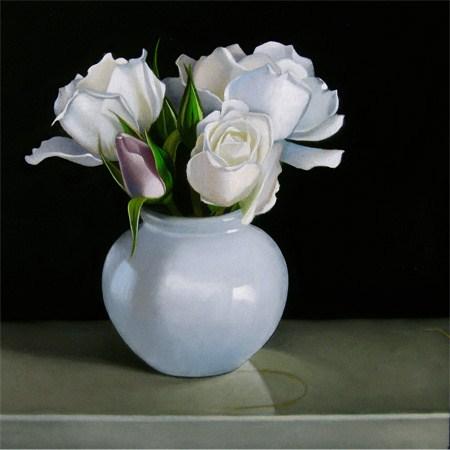 """White Rose 6x6"" original fine art by M Collier"
