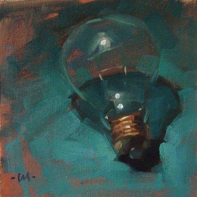"""""""Lone Lightbulb"""" original fine art by Carol Marine"""
