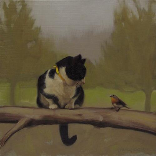 """""""The Conversation, painting of cat and bird"""" original fine art by Diane Hoeptner"""