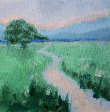 """""""#9 Lone Oak, Early Morning"""" original fine art by Kathy Johnson"""