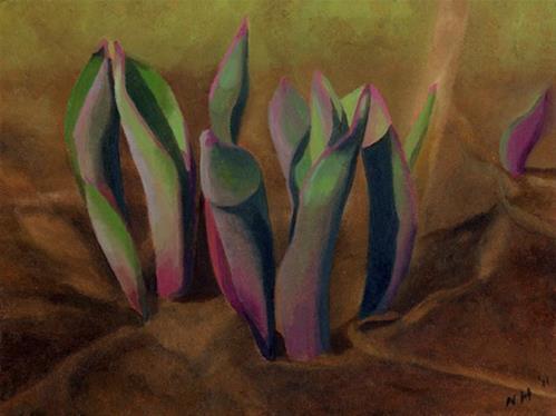 """""""Tulip Leaves"""" original fine art by Nancy Herman"""