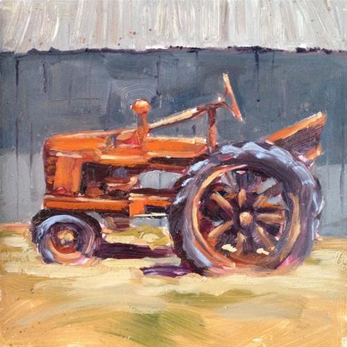 """Old Orange Tractor"" original fine art by Deborah Newman"