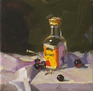 """""""Bottle and Grapes --- Sold"""" original fine art by Qiang Huang"""