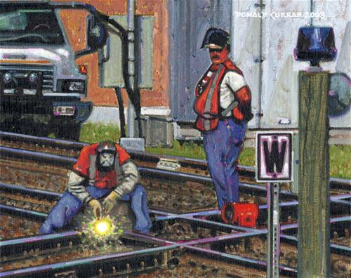 """""""Train Track Workers"""" original fine art by Donald Curran"""