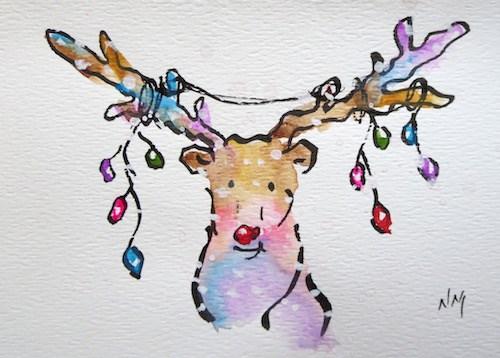 """Rudolph Card!"" original fine art by Nora MacPhail"