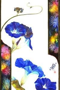 """Morning-Glory & Firework"" original fine art by Mariko Irie"