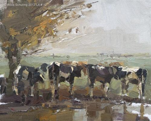 """""""Landscape autumn #10 Cows and yellow leaves - Koeien"""" original fine art by Roos Schuring"""