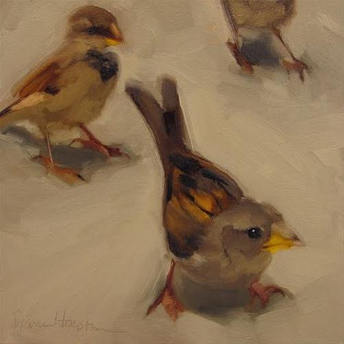 """""""The Curious One painting of sparrows"""" original fine art by Diane Hoeptner"""