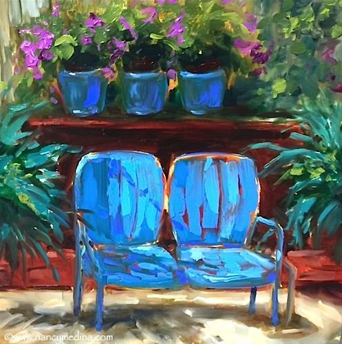 """Sit a Spell - Flower Garden Paintings by Nancy Medina Art"" original fine art by Nancy Medina"