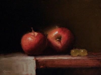 """Apples on a Shelf - study"" original fine art by Neil Carroll"