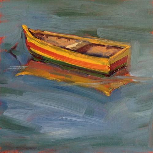 """Yellow Boat"" original fine art by Deborah Newman"