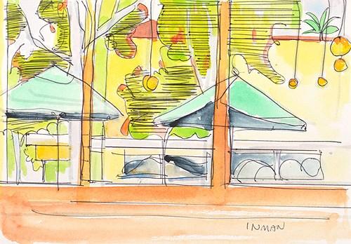"""Sunday At Starbucks, Watercolor"" original fine art by Kevin Inman"