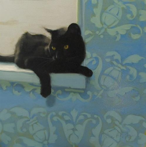 """Window Seat oil painting black cat"" original fine art by Diane Hoeptner"