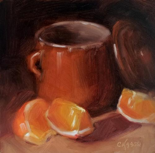 """Orange Slices and Crock"" original fine art by Cindy Haase"