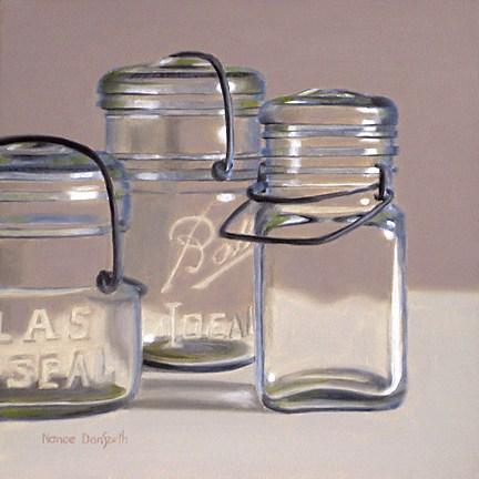 """Three Canning Jars"" original fine art by Nance Danforth"