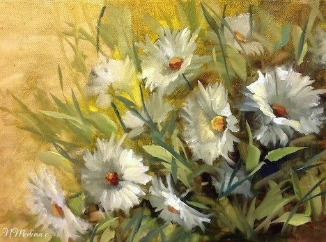 """Earth and Sky Daisies by Floral Artist Nancy Medina"" original fine art by Nancy Medina"
