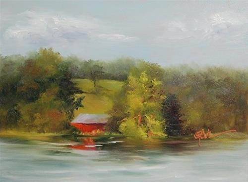 """Camping Joys! Lake Logan Morning, 6 x 8 Oil, Landscape"" original fine art by Donna Pierce-Clark"