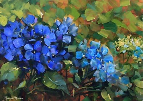 """Hearts Wing Blue Hydrangeas and Dallas Arboretum Workshops by Texas Flower Artist Nancy Medina"" original fine art by Nancy Medina"