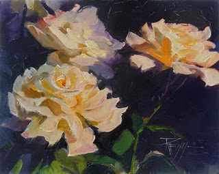 """Rose Light 2  flower oil painting, roses"" original fine art by Robin Weiss"