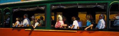 """Trolley Tour"" original fine art by Karin Jurick"