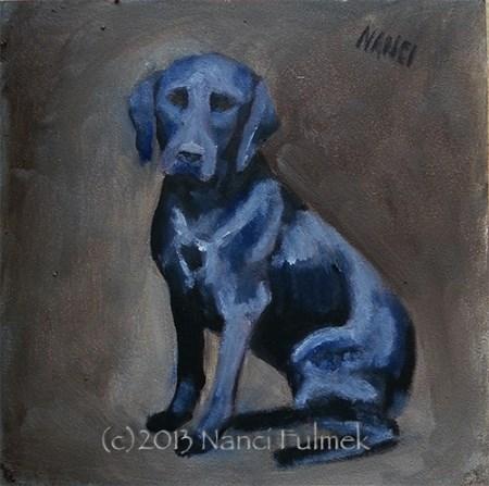 """Carly Black Lab mini portrait"" original fine art by Nanci Fulmek"