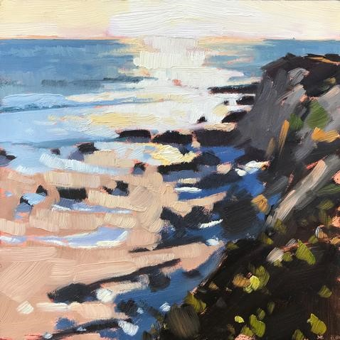 """Cliffs at Sunset"" original fine art by Sharon Schock"