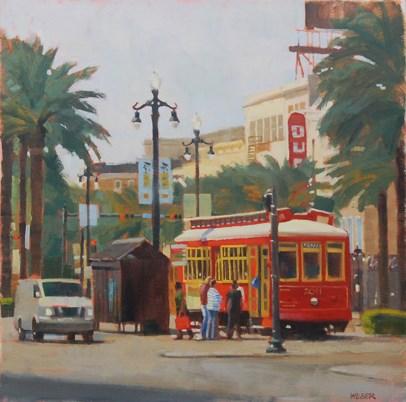 """New Orleans Trolley"" original fine art by Kathy Weber"