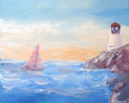 """""""Impressionist Sailboat at the Harbor near the Lighthouse Acrylic Painting"""" original fine art by Mark Webster"""