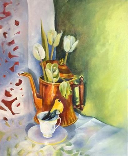 """TEA CUPS & TULIPS, 20 x 24 Oil, Still Life"" original fine art by Donna Pierce-Clark"