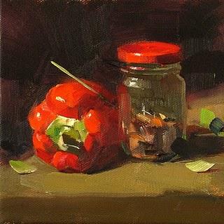 """Double Red"" original fine art by Qiang Huang"