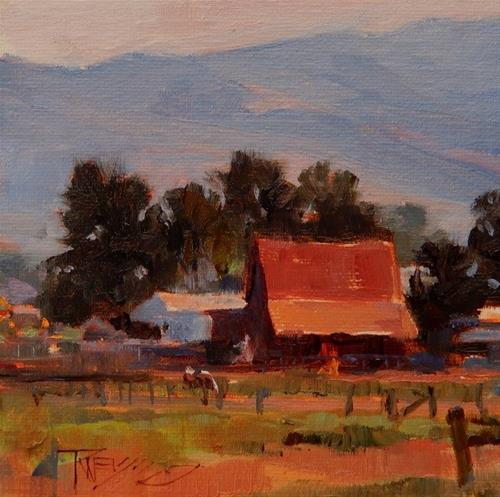 """""""Red Barn  mini, landscape painting by Robin Weiss"""" original fine art by Robin Weiss"""