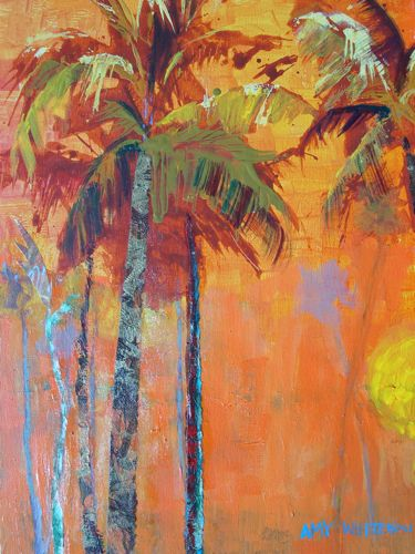 """""""Favorite Palms, 16x20 Acrylic Painting of Palm Trees"""" original fine art by Amy Whitehouse"""