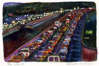 """Watercolor: Tail Lights"" original fine art by Belinda Del Pesco"