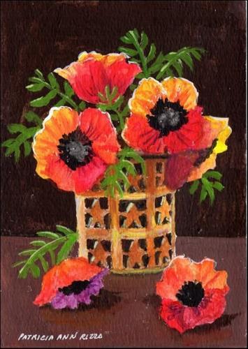 """""""Poppies in Copper Vase"""" original fine art by Patricia Ann Rizzo"""