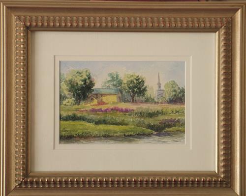 """""""Yellow Barns ~ framed"""" original fine art by Vikki Bouffard"""